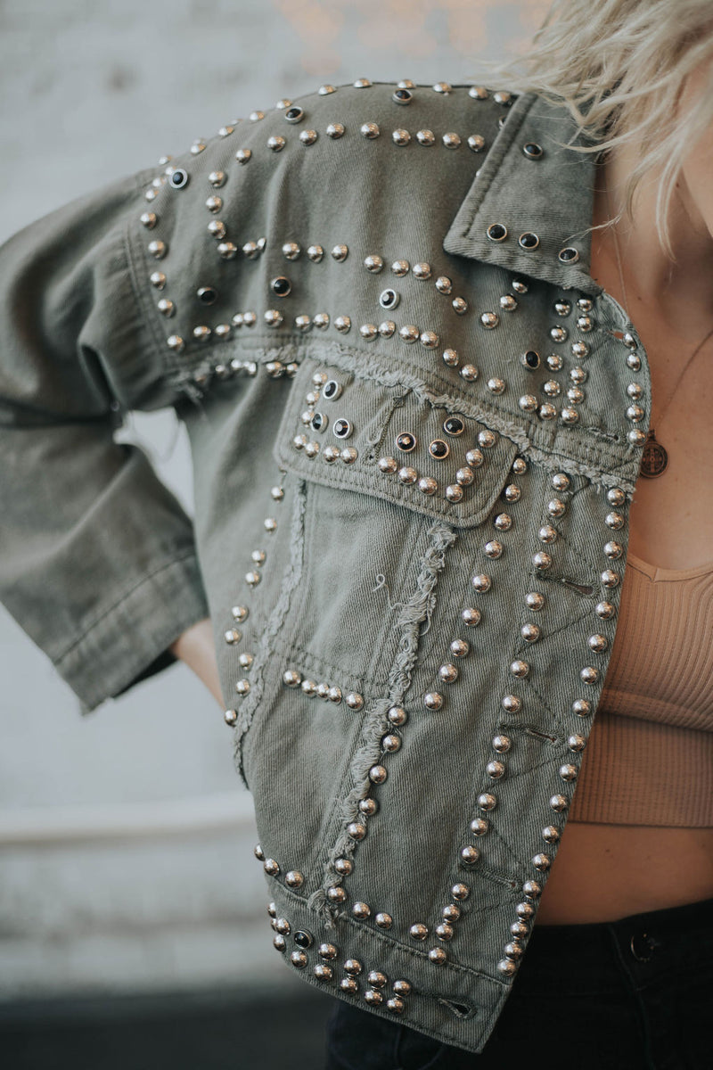 Tell Me About It, STUD - Army Green Denim Jacket
