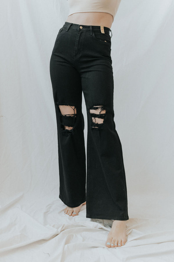 Zuma Wide Leg Busted Knee Jeans - 2 colors!