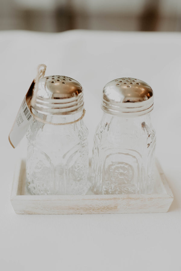 Vintage Salt + Pepper Tray Set
