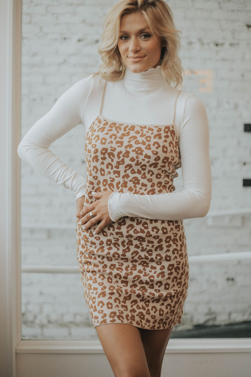 Indra Leopard Sweater Dress
