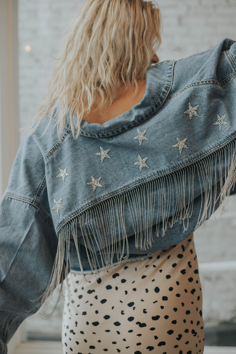 STARSTRUCK Bead Fringe Denim Jacket!