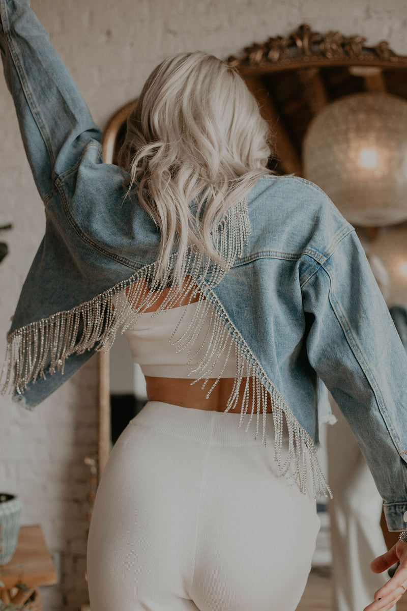 Angel Rhinestone Fringe Denim Jacket