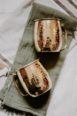 Gold Hammered Moscow Mule Mugs
