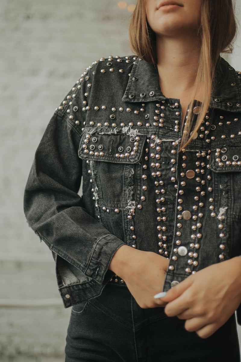 Tell Me About It, STUD - Black Denim Jacket