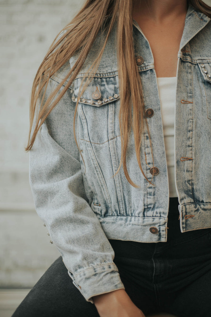 Heartbreaker Rhinestone Fringe Denim Jacket