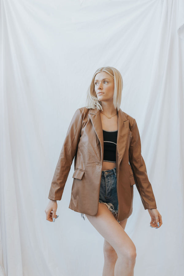 Gracie Faux Leather Blazer - 2 colors!