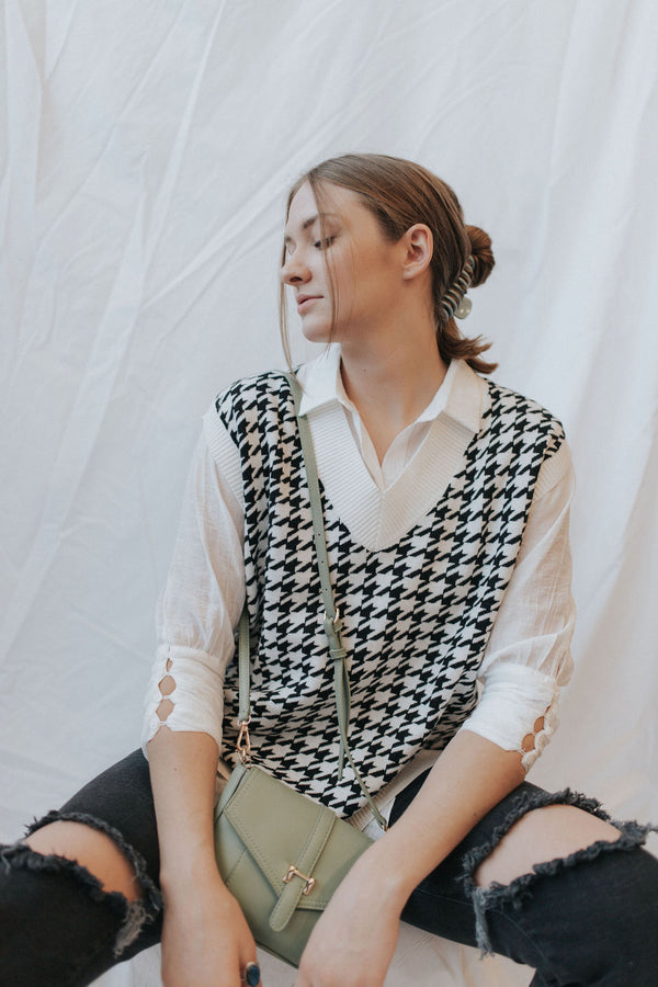 Samson Houndstooth Sweater Vest - 2 colors!