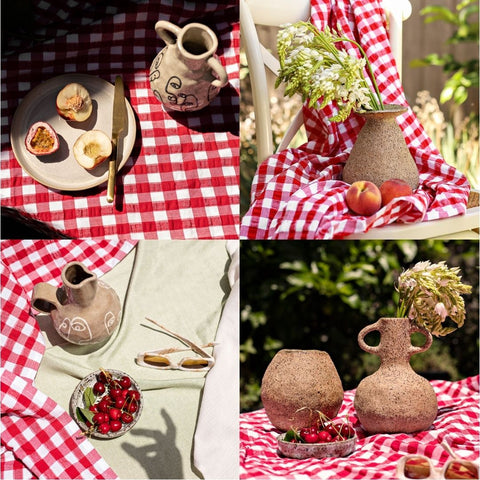 Four Images of Ceramics on A Red and White Table Cloth