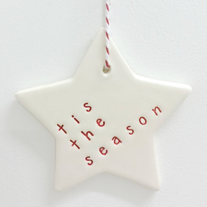 Ceramic Christmas Star Ornament 'Tis The Season' Red