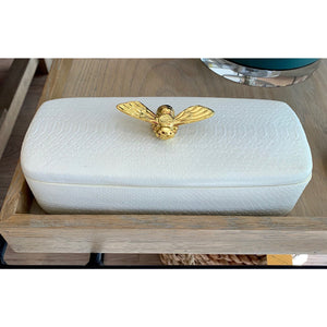 Rectangle Cream Box Gold Bee