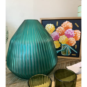 Brian Tunks Cut Glass Conical Vase - Turquoise