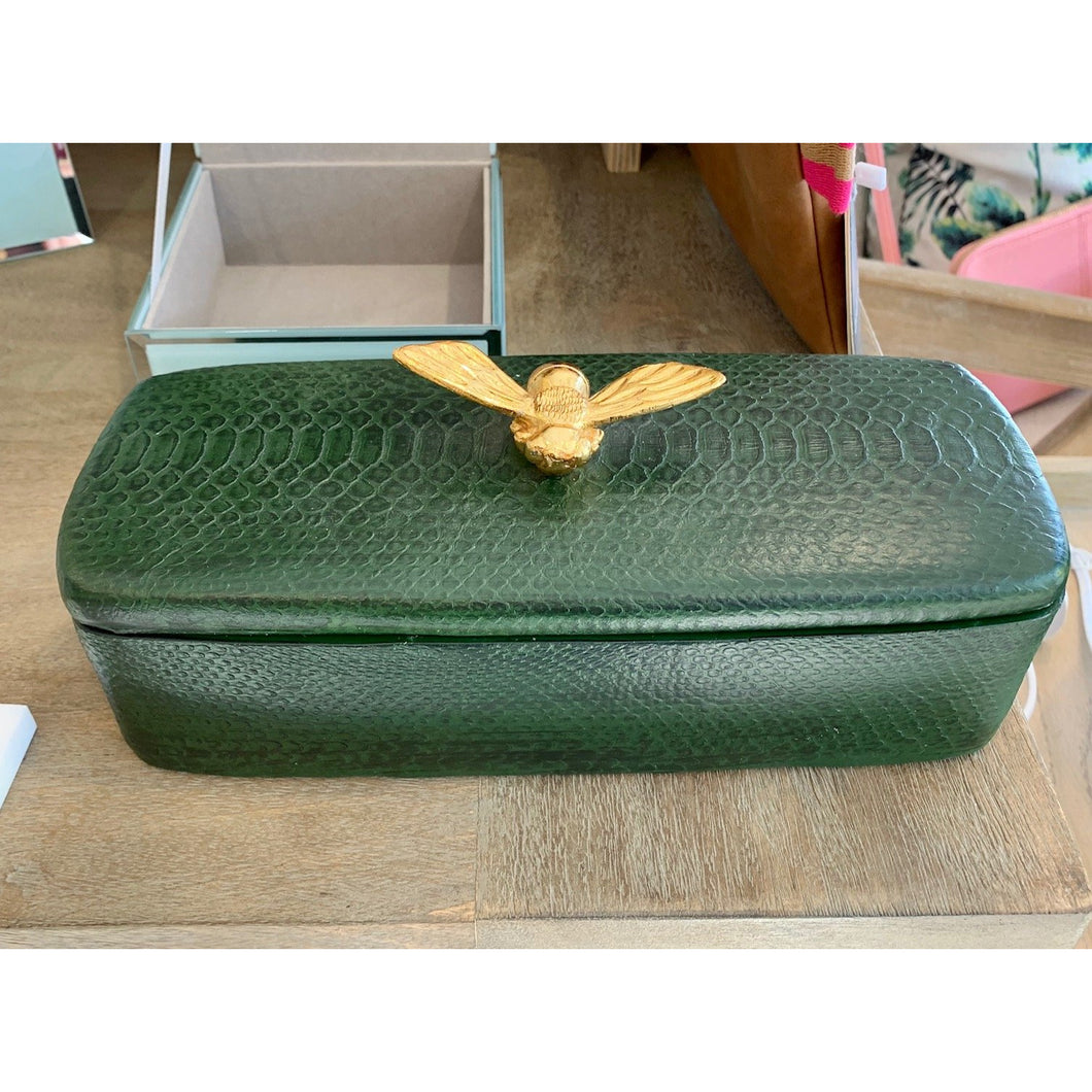 Rectangle Forest Green Box Gold Bee