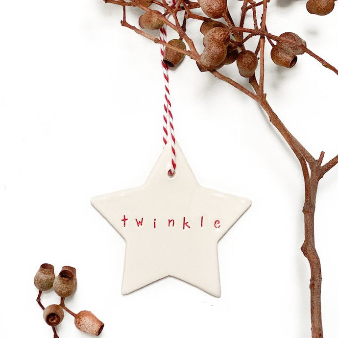Ceramic Christmas Star Ornament 'Twinkle' Red