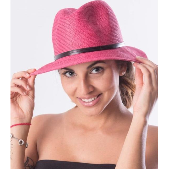 Foldable Borsalino Hat - Fuschia