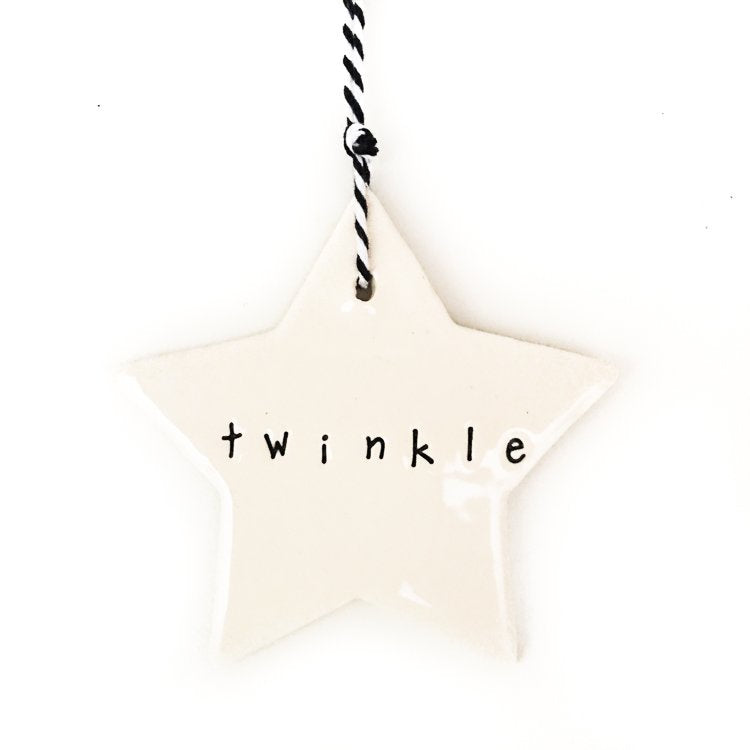 Ceramic Christmas Star Ornament 'Twinkle' Black