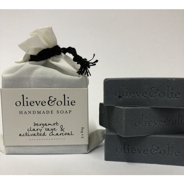 3 Pack Bar Soap Bergamot & Charcoal
