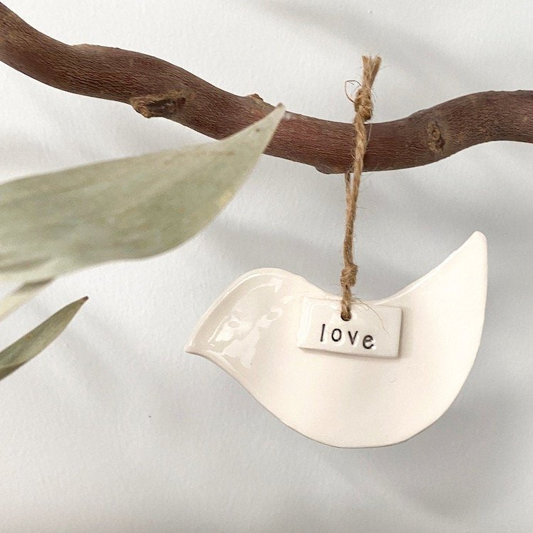 Ceramic Christmas Dove Ornament 'Love'