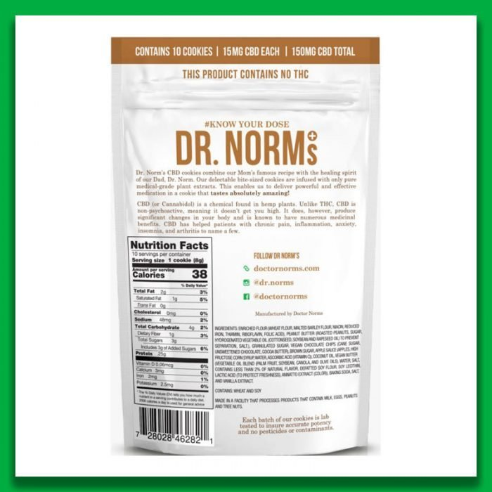 Dr. Norm's - Peanut Butter Chocolate Cookies (150mg CBD) - The CBD Market