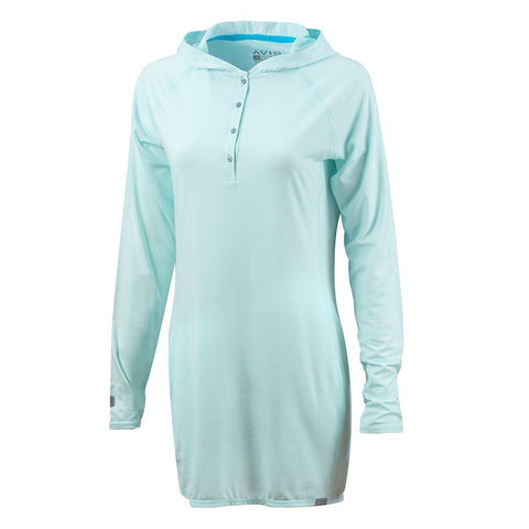 Pacifico Cover Up Dress L/S (50+UPF) - Bleached Aqua