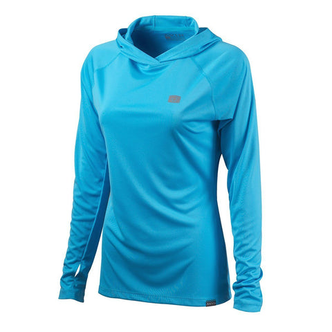 Womens Hooded AVIDry L/S (50+ UPF) River Blue