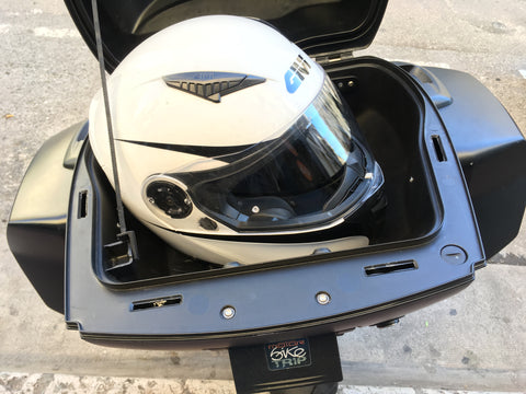motorcycle rental storage F800 R - GT helmet in top case