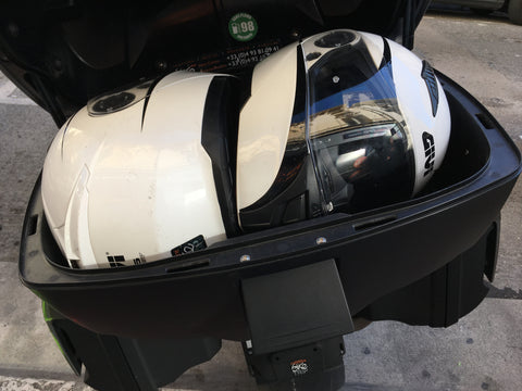 motorcycle rental storage R1200 RT helmets in top case