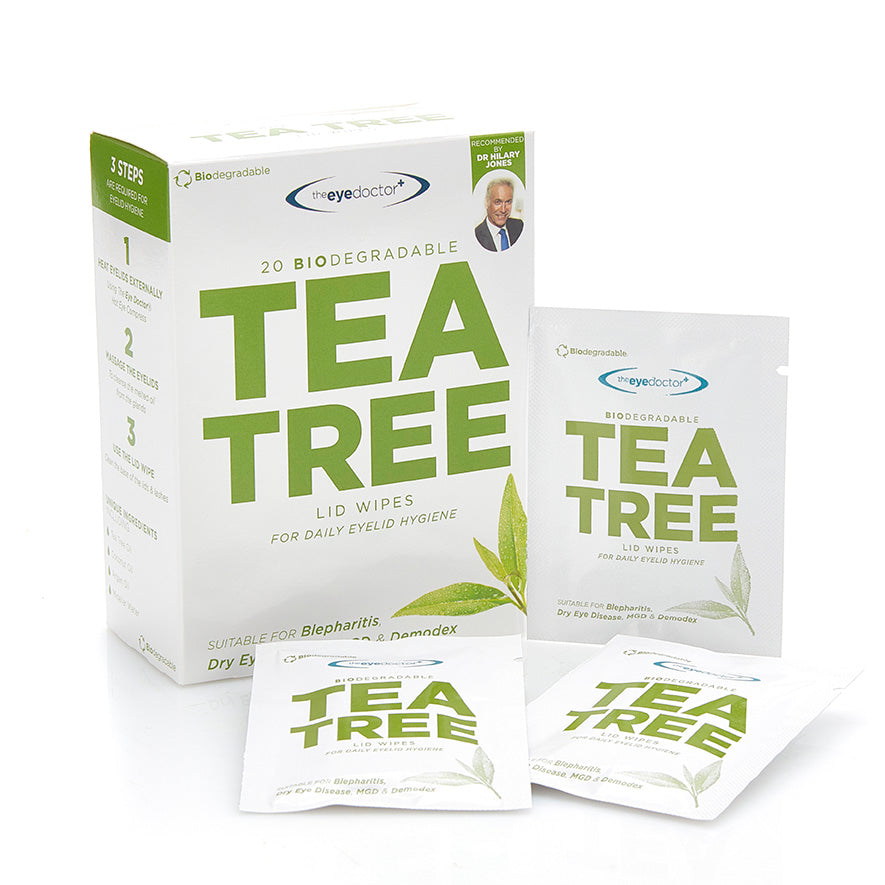 Tea Tree Oil Lid Wipes, Case of 13 Boxes, Each Box of 20 Wipes