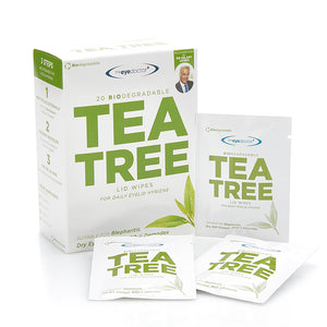 Tea Tree Oil Lid Wipes, 20 Wipes per Box