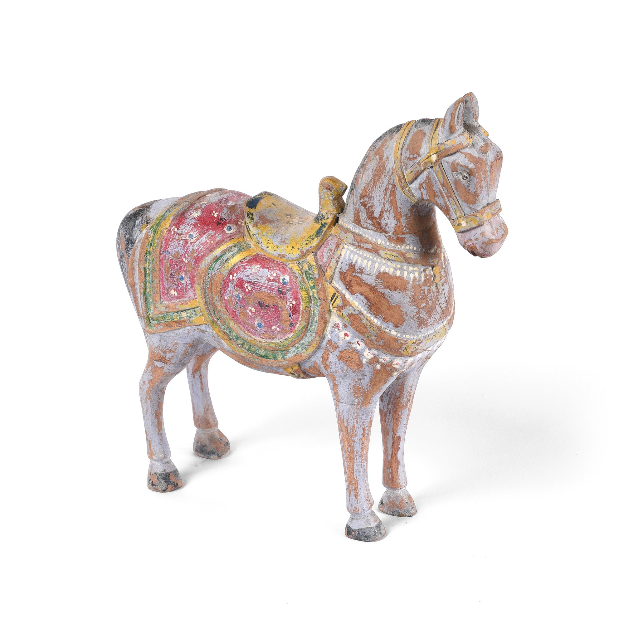 These pastel painted horse figurines are painstakingly carved by talented Rajasthani artists in India