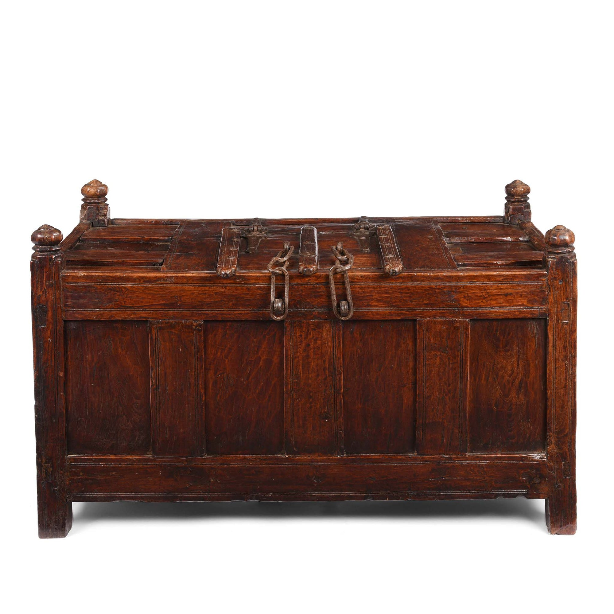 Teak Stick Chest From Banswara Tribal Area - 19thC