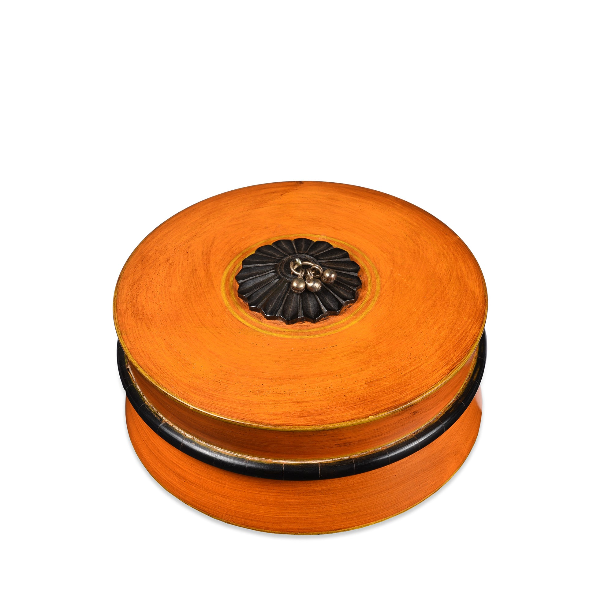 Hand Made Lacquer Pot From Rajasthan - Orange - 19 x 19 x 9.5 (w x d x h cms) - A5024V2