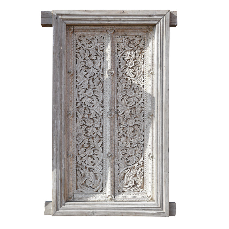 Carved Teak Door & Frame - 19thC