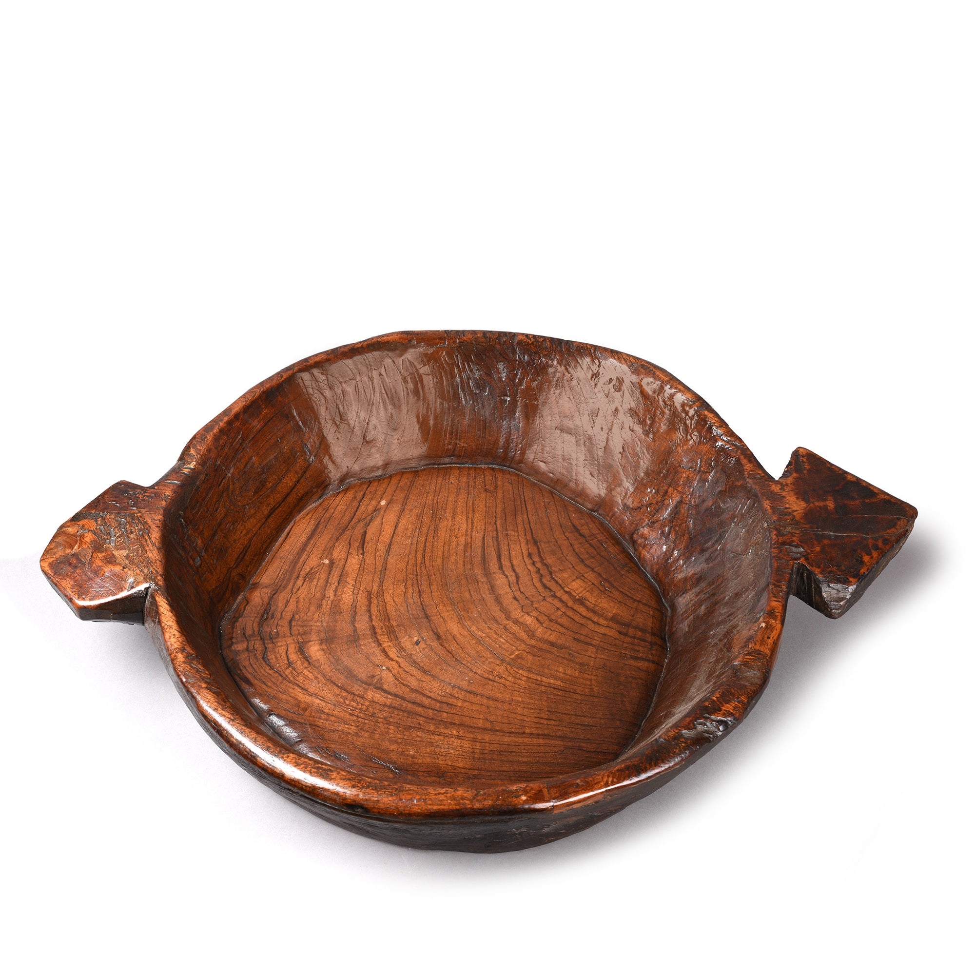 Teakwood Parath- Dough Mixing Bowl - 19thC from Rajasthan - 74.5 x 55.5 x 14 (wxdxh cms) - A5579