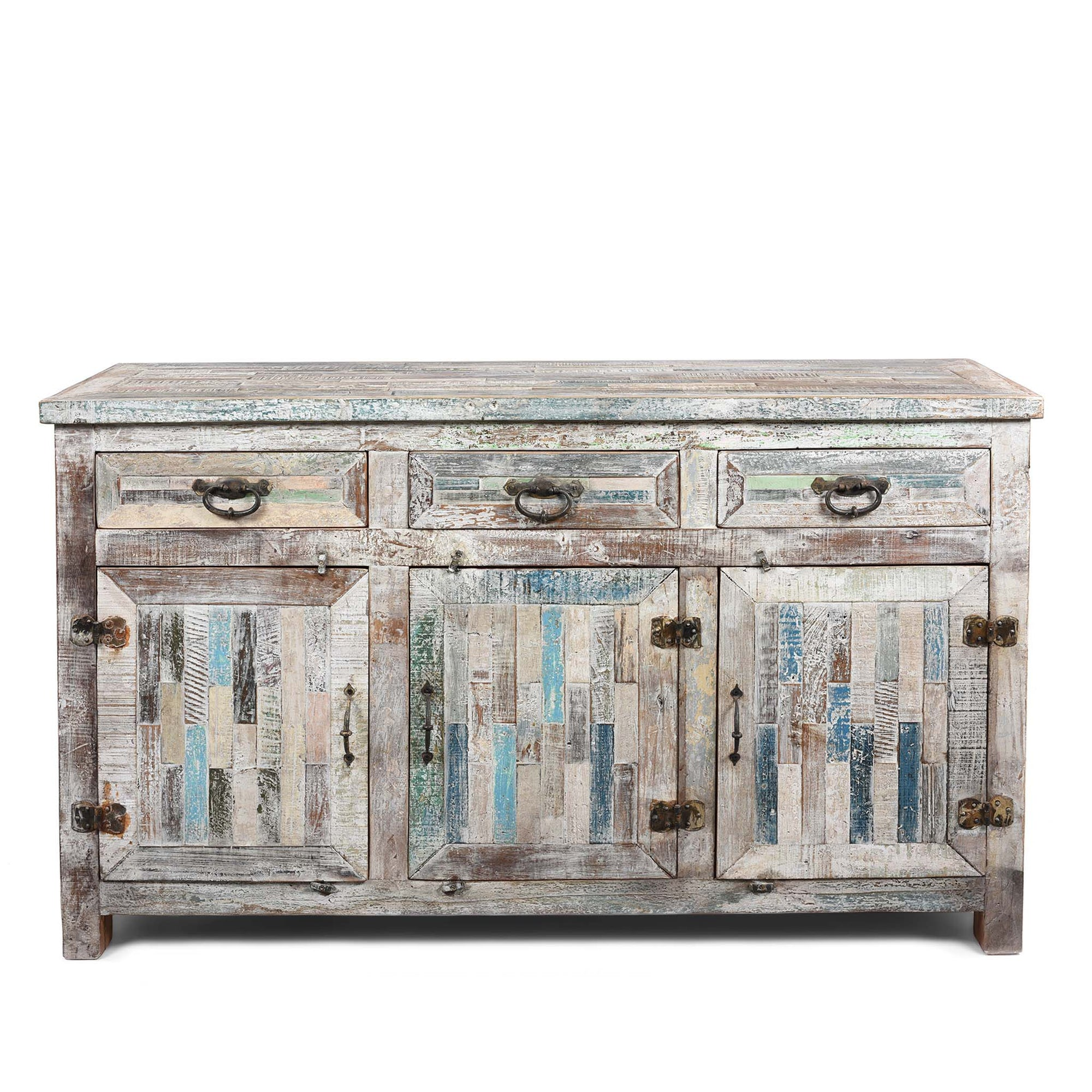 3 Door Sideboard Made From Painted Reclaimed Teak | Indigo Oriental Antiques