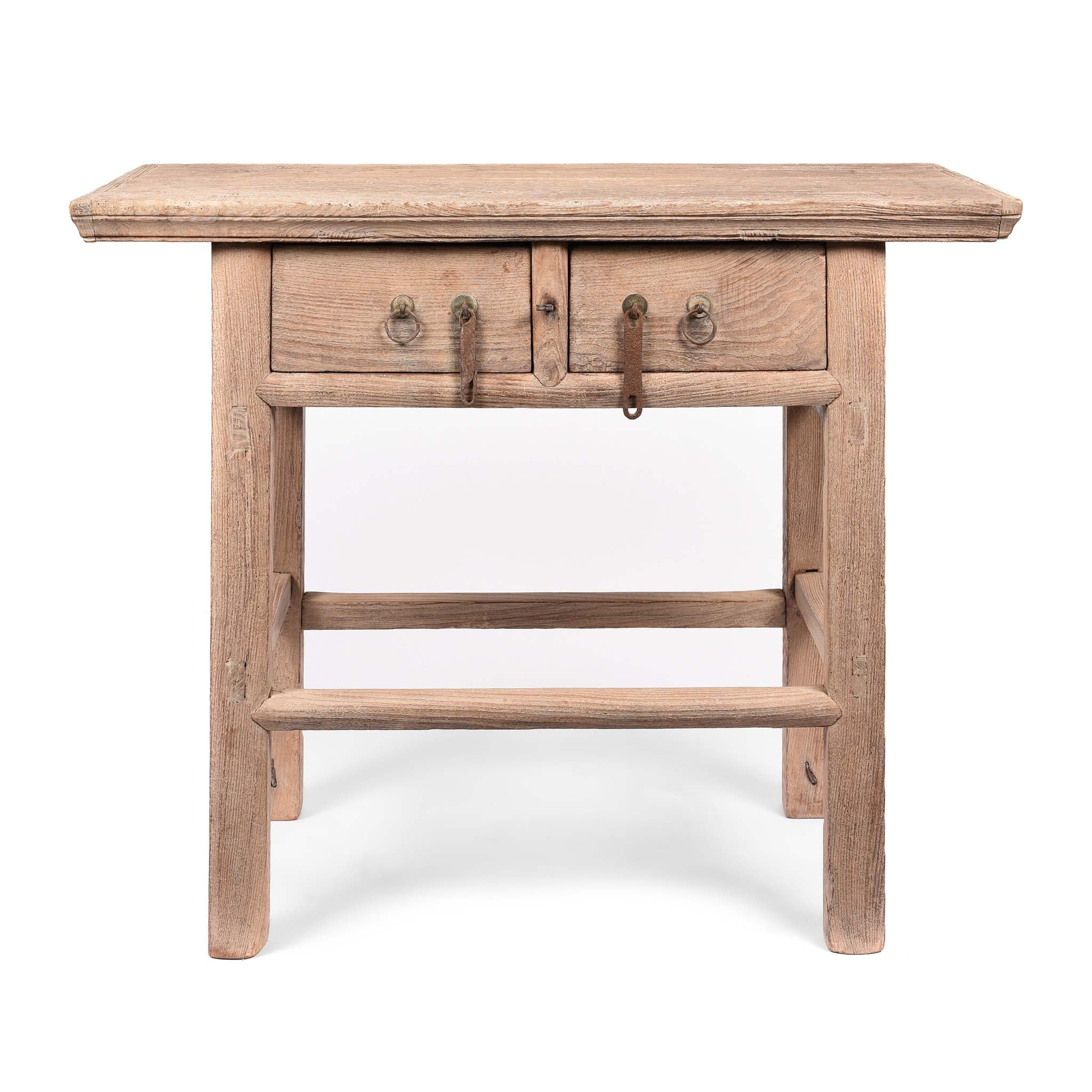Rustic Countryside 2 Drawer Wine Table from Shanxi - 19thC