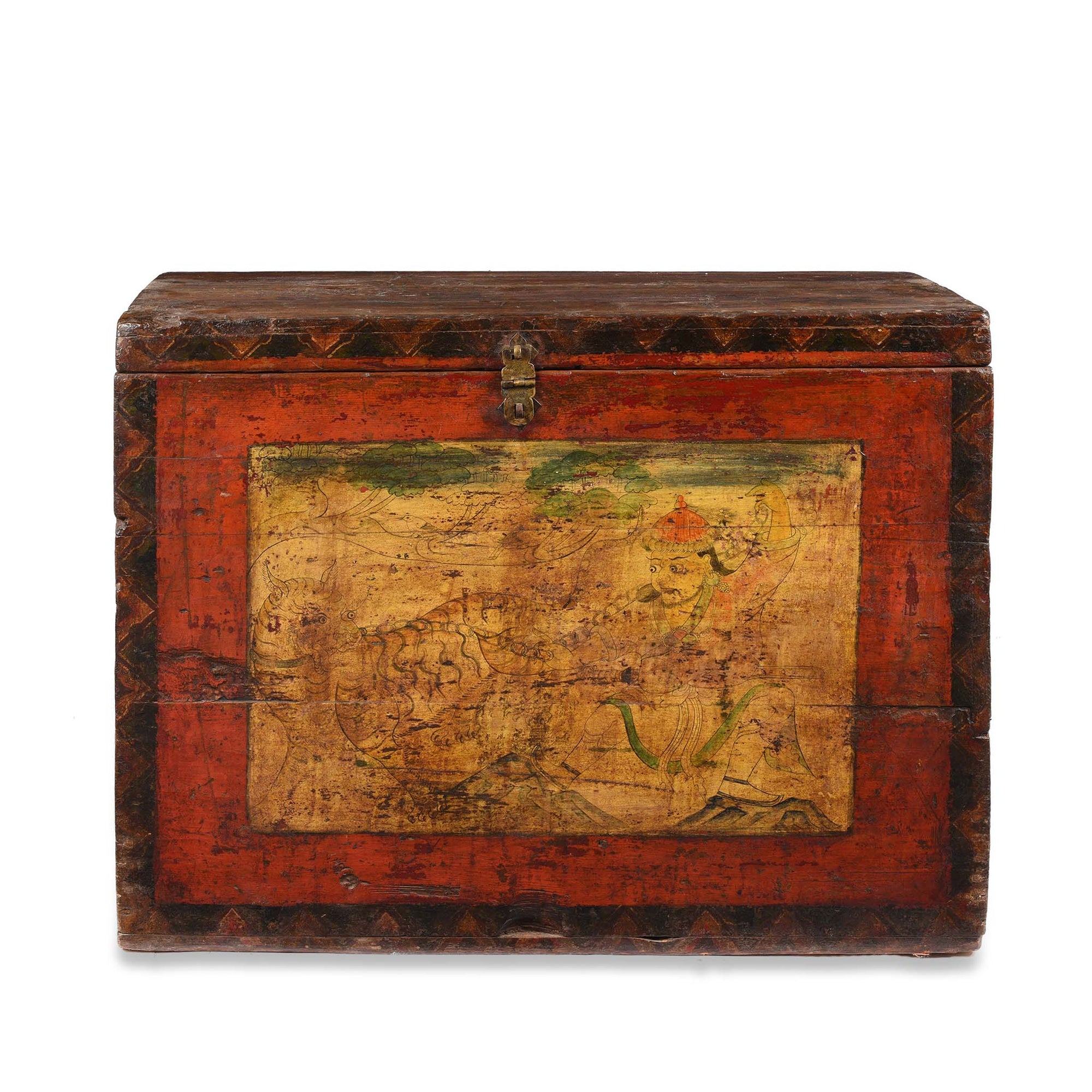 Painted Chest from Tibet - 18thC - 103 x 33 x 73 (wxdxh cms) - C1069
