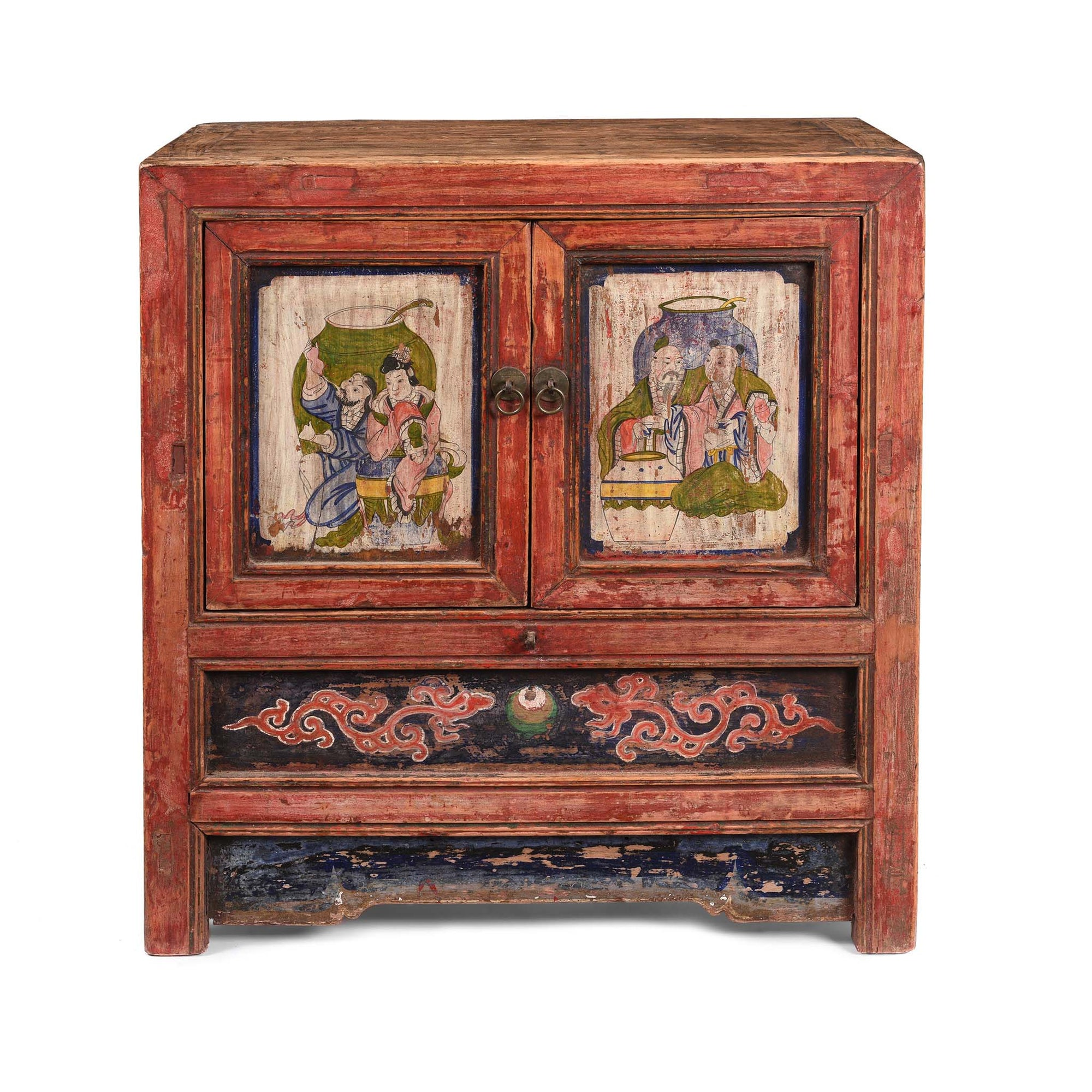 Painted Mongolian Side Cabinet - 19thC - 65 x 38 x 71 (wxdxh cms) - C1342V1