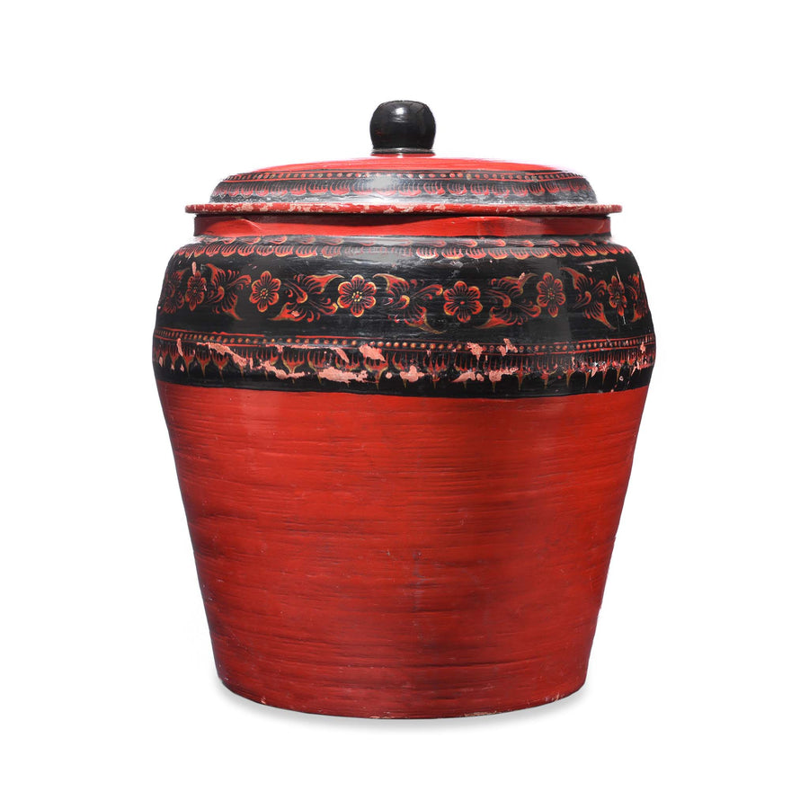 Burmese Red Painted Papier Mache jar and cover - early 20thC - 43 x 43 x 49 cm tall - M253