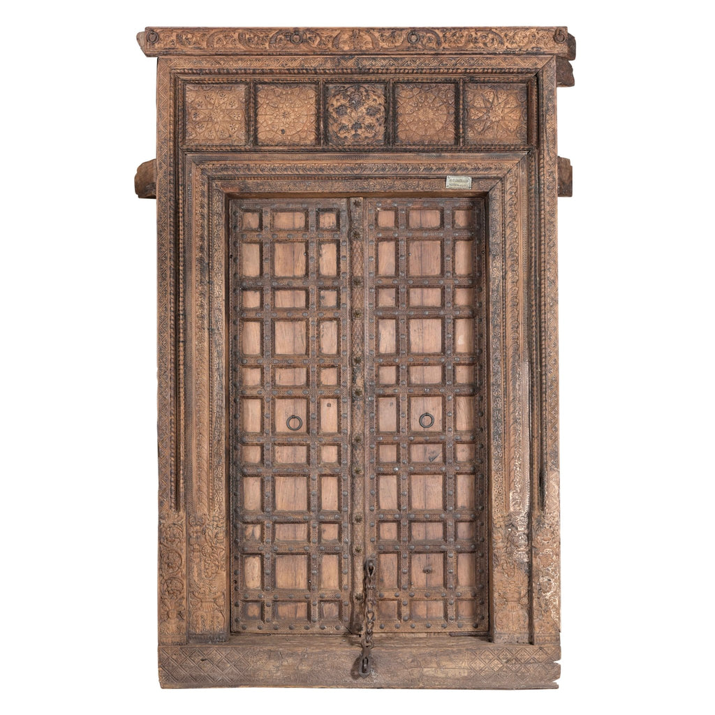 Carved Rosewood Door & Frame From Punjab - 19thC