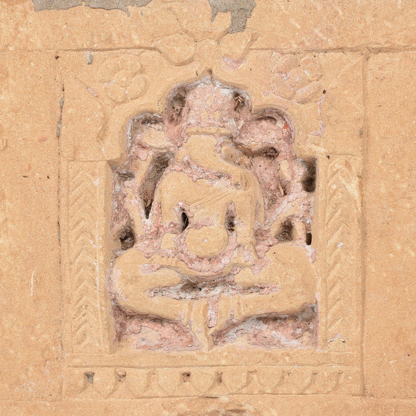 Carved Stone Lintel Panel With Ganesh From Jaisalmer - 19thC