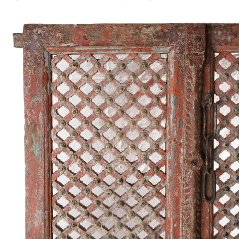 Carved Teak Jali Doors With Original Paint From Patan - 18thC