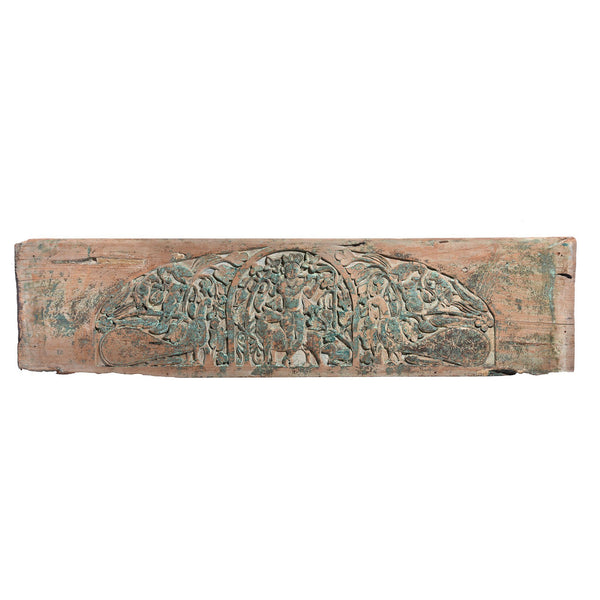 Carved Teak Krishna Lintel Panel From Andra Pradesh - 19thC