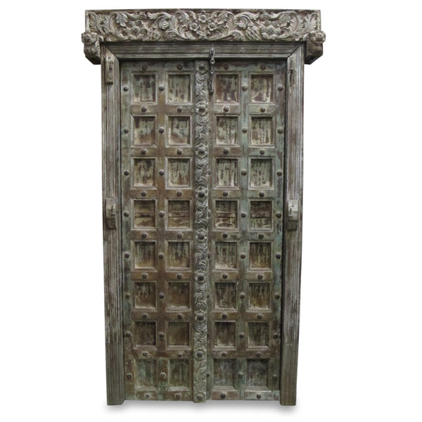 Limed Indian Door & Frame From Kutch - 19thC