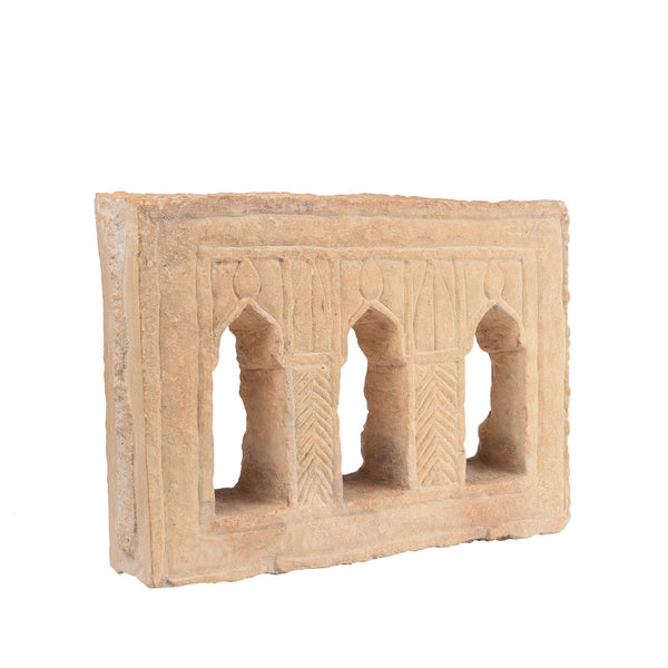 Old 3 Way Stone Lamp Niche From Jaisalmer- 19Thc