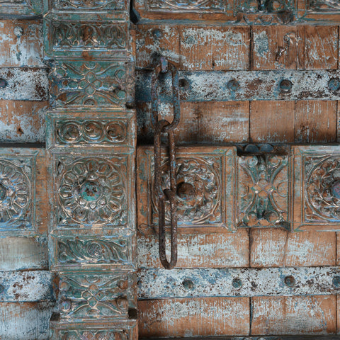 Old Blue Painted Indian Doors From Kutch - 19thC