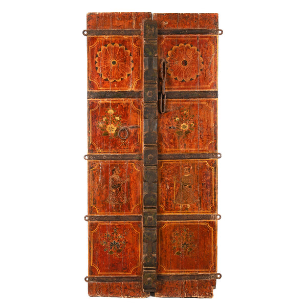 Painted Indian Door From Rajasthan - Mid 18thC