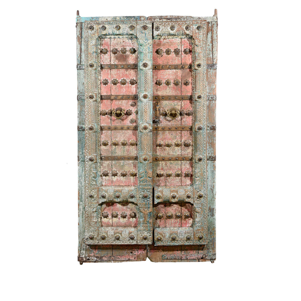 Painted Indian Door With Original Paint From Gujarat - 18thC