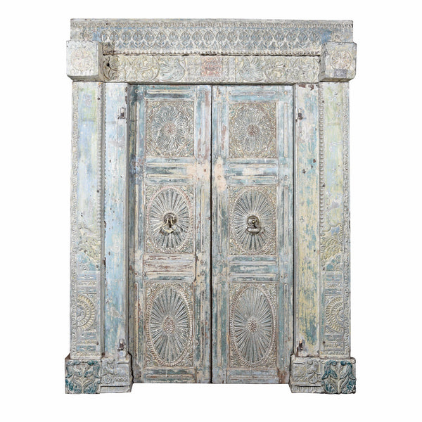 Painted Indian Reclaimed Door From Gujarat - 19thC