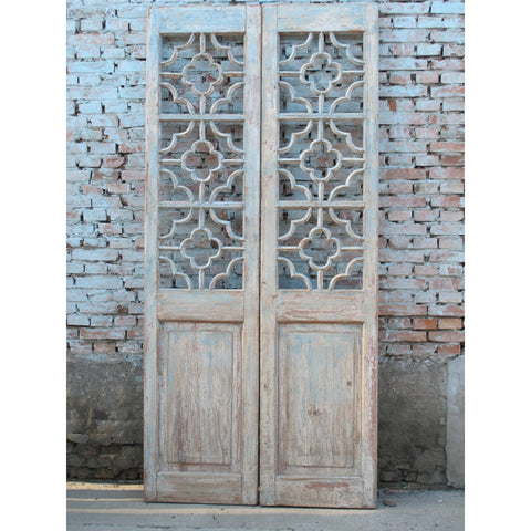 Painted Pine Lattice Doors From Shanxi - 100 Yrs Old - Pair