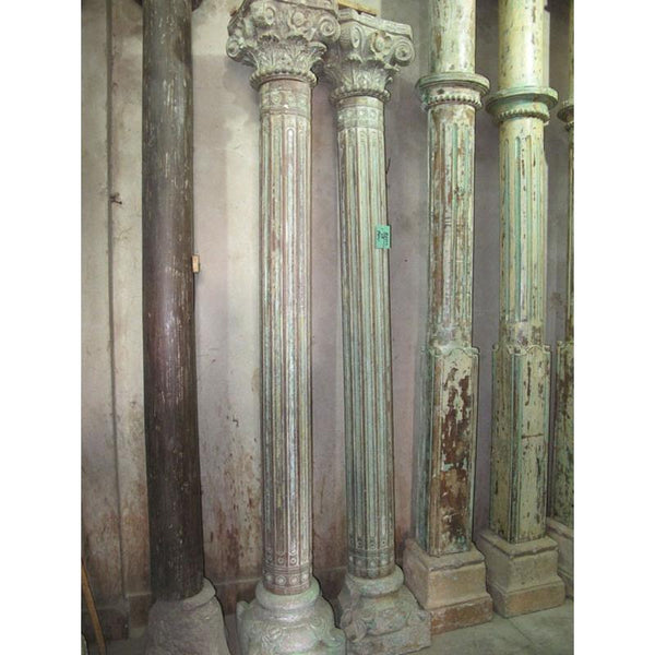 Pair Painted Teak Pillars with Stone Bases - 19thC